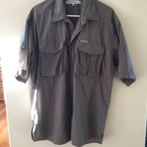 Mens Columbia lightweight fishing shirt gray/grXL